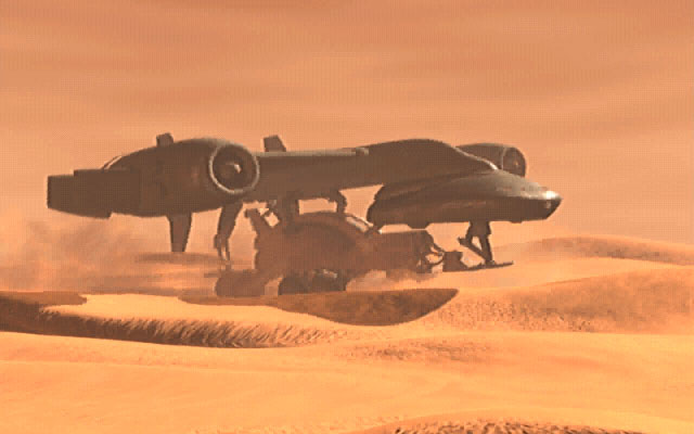 2347-dune-2000-windows-screenshot-a-spice-harvester-lifted-by-a-carry