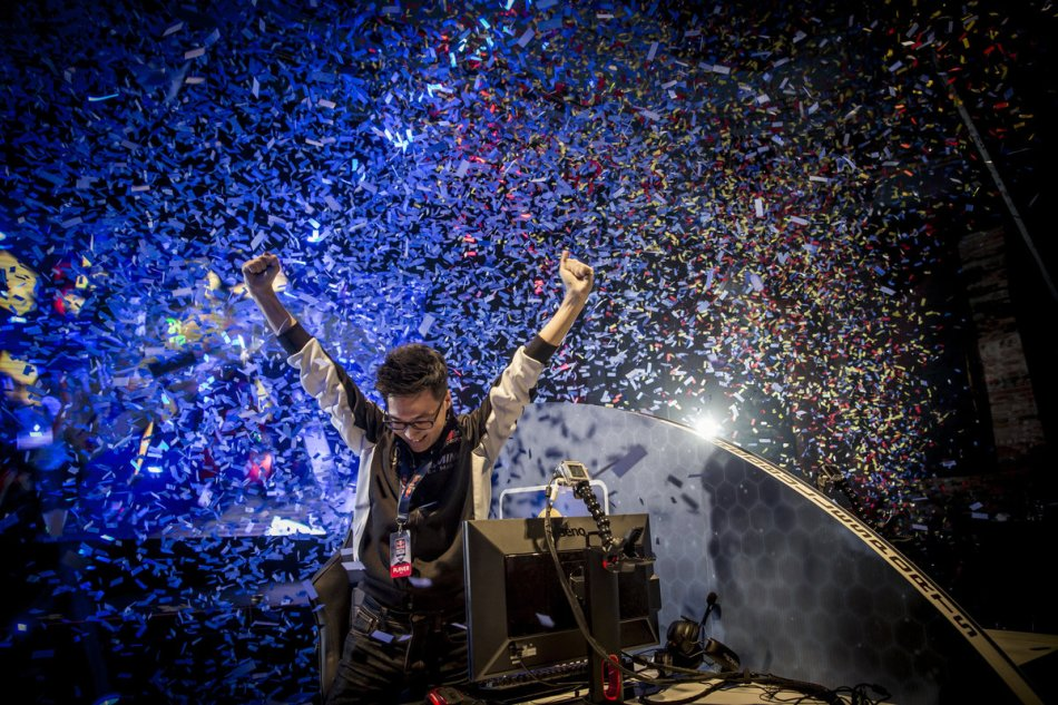 Polt celebrates his victory, and passage to the tournament finale in Washington, at Red Bull Battle Grounds, held at the Garden Theater in Detroit, MI, USA on 24 August, 2014.